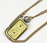 Unisex Pocket Watch Retro rectangular double movement Shiying Huai table