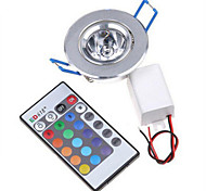 HRY® 3W RGB Color Changing LED Recessed Ceiling Lamp Down Light +IR Remote Control(85-265V)