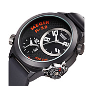 MEGIR Men Multiple Time Zone Military Watches Stainless Steel Case Black Silicone Men Wristwatch Relogio Masculino Cool Watch Unique Watch