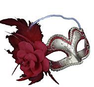 plata pluma flor y la mitad roja máscara mascarada