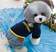 Dog Clothes/Jumpsuit Blue Light Blue Dog Clothes Winter Spring/Fall Jeans Cute Fashion