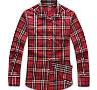 Lesmart Hommes Col de Chemise Manche Longues Shirt et Chemisier Rouge - SW14168