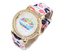 Women's Fashion Watch Simulated Diamond Watch Quartz Leather Band Black White Red Brown Green Pink Yellow