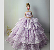 Party/Evening Dresses For Barbie Doll Light Purple Dresses For Girl's Doll Toy