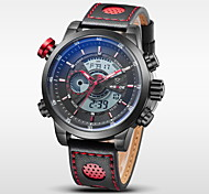 Men's Brand Luxury Analog & Digital Double Time Black Leather Quartz Watch Cool Watch Unique Watch