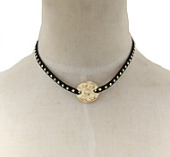 Fashion Women Trendy Stud Set Velvet Metal Pendant Choker