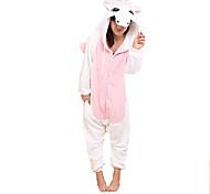 Kigurumi Pijamas Unicórnio Malha Collant/Pijama Macacão Festival/Celebração Pijamas Animal Rosa Miscelânea Velocino de Coral Kigurumi Para