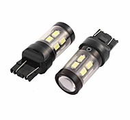 2 PC 7443 7440 15 SMD LED blanco error de freno limpio bombilla del intermitente un coche