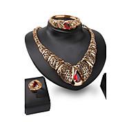 Women Wedding Bridal Gold Alloy Luxury Palace Gem Necklace  Bracelet Earrings Ring Jewelry Set