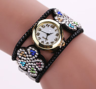 Women's Quartz Analog White Case Flower Leather Band Bracelet Wrist Watch Jewelry Cool Watches Unique Watches