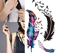 Trendy Waterproof Small Fresh Wild Goose Feather Pattern Tattoo Stickers - Photo Color Charming Body Accessories