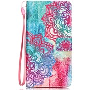 Red Flower Painting Card Holder Lanyard PU Phone Case for Huawei P9lite