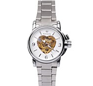 Unisex Skeleton Watch Fashion Peach Heart Strip Automatic Mechanical Watches