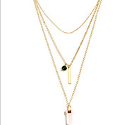 European Fashion Jewelry Gold Plated  Natural  Stone 3 Multilayer Chain Charm Necklace
