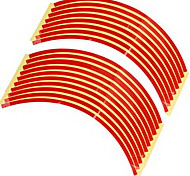 Set 10mm Red Car Wheel Rim Reflective Tape Stripe Decal Sticker