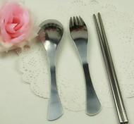 portable déjeuner vaisselle Ménagère cuillère en acier inoxydable fourchette baguettes couleur aléatoire