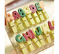 14PCS Diy Color Cute Cartoon Mini Small Letter Alphabet Wood Paper Photo Clips With(Style random)