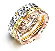Fashion Unisex Flowers White Zircon Gold-Plated Titanium Steel Couple Rings(Golden,Rose Gold,Silver)(1Pc)