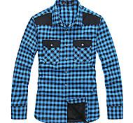 Lesmart Hommes Col de Chemise Manche Longues Shirt et Chemisier Bleu / Rouge - SX13151