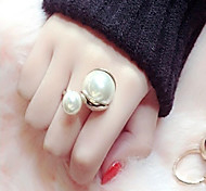 Super texture size white pearl pale gold ring opening