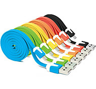 1M Colorful USB 2.0 Male to Micro USB 2.0 Male Flat Cable for Samsung Huawei HTC Android Phones