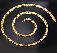 Женский Ожерелья-цепочки Заявление ожерелья Круглый Крестообразной формы Позолота Мода бижутерия Бижутерия Назначение Свадьба Для