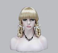nouvelles frange de cosplay de théâtre mignon pâle perruque blonde avec deux tresses