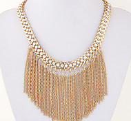 Women European Style Fashion Long Tassel Ethnic Exaggerated Metal Short Statement Necklace