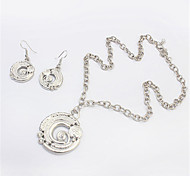 Women European Style Fashion Cute Spiral Disk Necklace Earrings Set