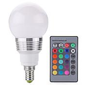 2w e14 светодиодные шариковые лампы a60 (a19) 1cob 250lm lm rgb с регулируемой яркостью / с дистанционным управлением AC 85-265 v 1 шт.