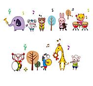 Animals Cartoon Zoo Band Wall Stickers Children's Bedroom Kindergarten Wall Decals Removable