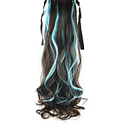 Length Sky Blue Wig Ponytail Curly 55CM Synthetic Deep Wave High Temperature Wire Color Sky Blue