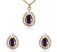 Women's Purple Cubic Zirconia Necklace Earrings Jewelry Set