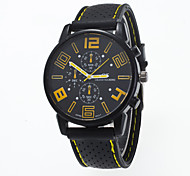 Men's Fashion Watch Quartz Casual Watch Silicone Band Black