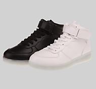 Frauen führte Schuhe usb Leder Art und Weise Turnschuhe im Freien / sportlich / casual schwarz Lade- / weiß
