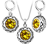 Trendy Women 18K Gold Plated Hollow Necklace Earrings Yellow Crystal AAA+Cubic Zircon Jewelry Set Party Gift S20170