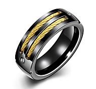 Массивные кольца Титановая сталь Мода Золотой с черным Бижутерия Свадьба Для вечеринок Повседневные Спорт Новогодние подарки 1шт