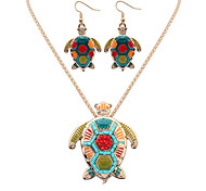 Women European Style Fashion Colorful Turtle Necklace Rarrings Set