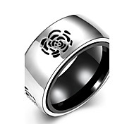 Fashion Simple  Men's Carved Flowers Stoving Varnish Titanium Steel Band Rings(Black)(1Pc)