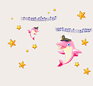 Kindergarten Cartoon Pink Dolphin Music Wall Stickers Children's Bedroom Glass Removable Wall Decals