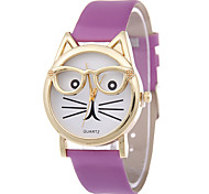 Women's Fashion Watch Quartz PU Band Cartoon Black White Blue Red Brown Pink Purple
