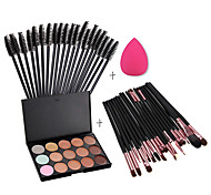 15 Colors Contour Face Cream Makeup Concealer Palette + Sponge Puff Powder Brush + 20PCS Brushes + 50pcs Eyelash Brush