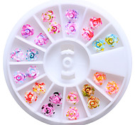 12 Colors 6mm Resin Rose Flowers 3D Nail Art Studs Tips Glitter DIY Wheel Floral Design Decorations For Nails