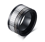 Black Grid Lines Titanium Steel Men's Ring Back
