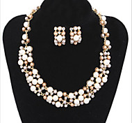 Imitation Pearl / Silver Plated Jewelry Set Necklace/Earrings Wedding / Party / Daily / Casual 2pcs