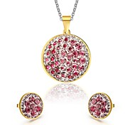 Women's Rhinestone Round Style Gold Necklace Earrings Jewelry Set