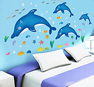 Children's Bedroom Cartoon Underwater World Dolphin Wall Stickers Bathroom Glass Wall Decals PVC Removable