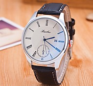 Couple's Fashion Watch Quartz Casual Watch Leather Band Black Brand
