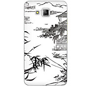 For Samsung Galaxy Case Pattern Case Back Cover Case Black & White Soft Silicone J5