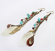 Women's New European Style Fashion Bohemian Ethnic Retro Leaf Feather Drop Earrings